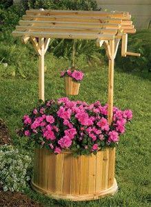 ✿⊱♥ Poço em madeira para decoração de jardim.