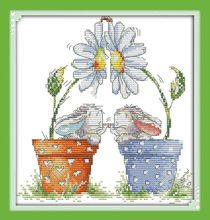 Wholesale Needlework,Stitch,14CT Cross Stitch,Sets For Embroidery Kits,Little Rabbits in Pot Counted Cross-Stitching(China (Mainland))