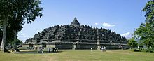 Borobudur is a 9th-century Mahayana Buddhist monument in Magelang, Central Java, Indonesia. The monument comprise six square platforms topped by three circular platforms, and is decorated with 2,672 relief panels and 504 Buddha statues