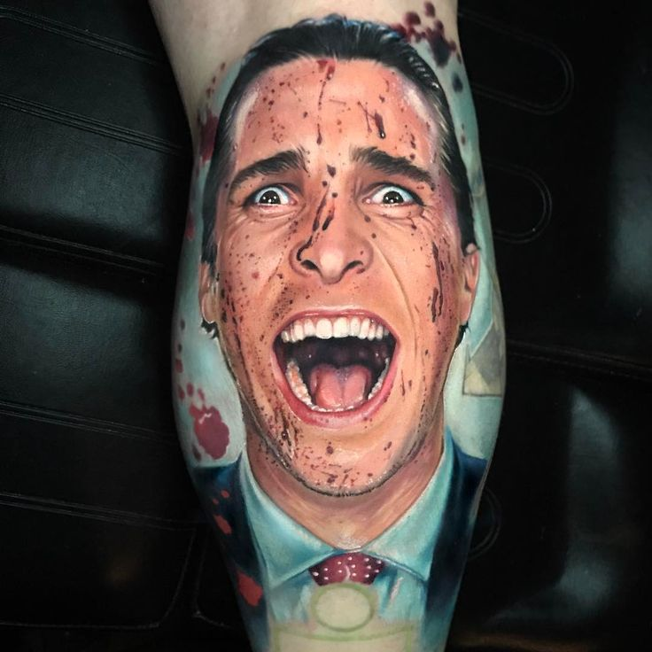 Patrick Bateman of American Psycho tattoo by Paul Acker of The Séance Tattoo Parlor in Bensalem, PA