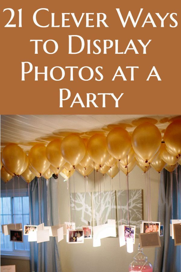 20 Creative Easy Ways To Use Photos As Party Decorations 50th Anniversary Party Anniversary Party Decorations Simple Birthday Party