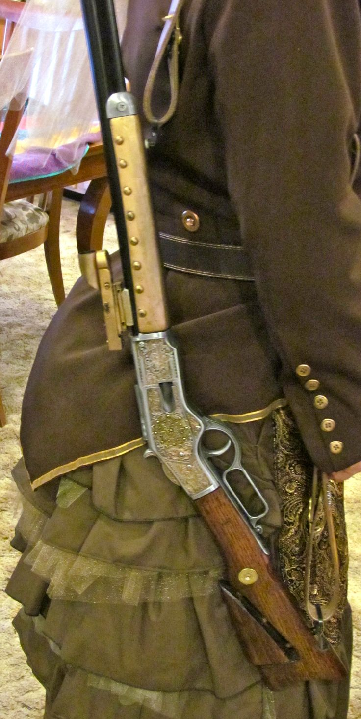 Steampunked 1873 Winchester replica rifle