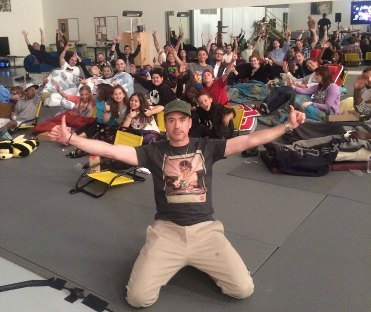 RDJ invited a bunch of kids over to watch Captain America 2 on his bday (today) - so awesome - Imgur