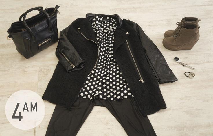 abrigo,blusa, cartera y colet 4AM