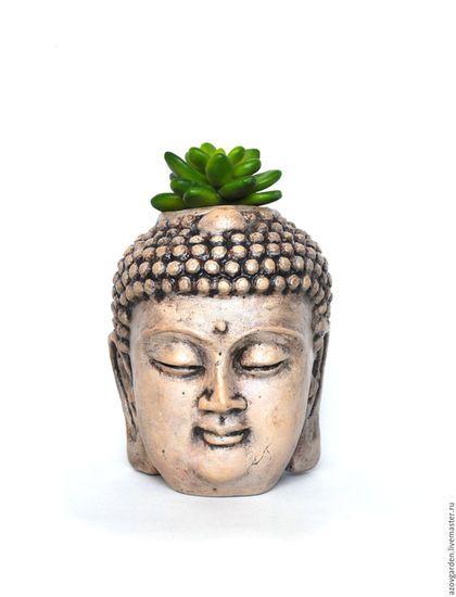 Кашпо ручной работы. Ярмарка Мастеров - ручная работа. Купить Кашпо для суккулентов и кактусов- голова Будды. Handmade. Серый, релаксация