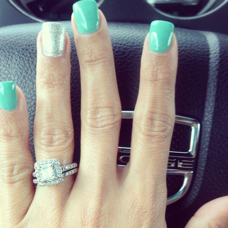 Aqua Nail Art: Polish, Ring Finger And Love