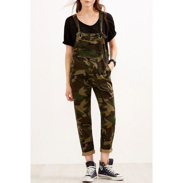 Multi Camouflage Print Side Pocket Chic Overalls (€29) ❤ liked on Polyvore featuring jumpsuits, multi, bib overalls, camo jumpsuit, white sleeveless jumpsuit, camo overalls and camouflage jumpsuit