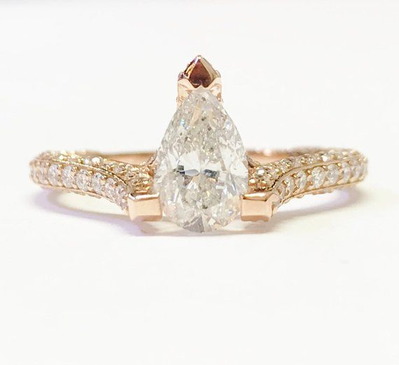 bc25899a5 1.00CT Diamond Pear Shape Solitare Engagement Ring 3 Dimensional Diamonds  Band 2.00CT T.W. Rings Platinum 18K 14K White Yellow Rose Gold