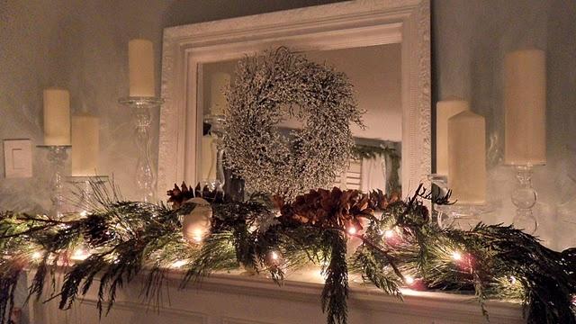 Love this: Mantel Decor, White Lights, Candles Holders, Holidays Decor, Rustic Christmas, Christmas Decor, Restoration Houses, Christmas Mantles, Christmas Mantels