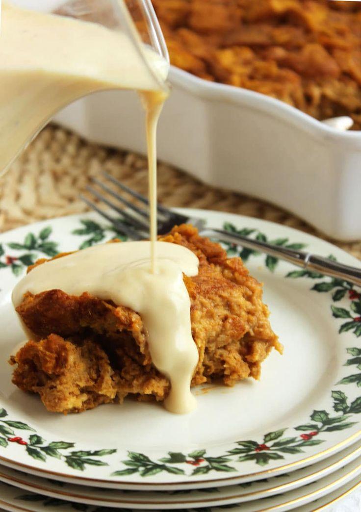 Pumpkin Bread Pudding with Eggnog Bourbon Sauce | The Suburban Soapbox