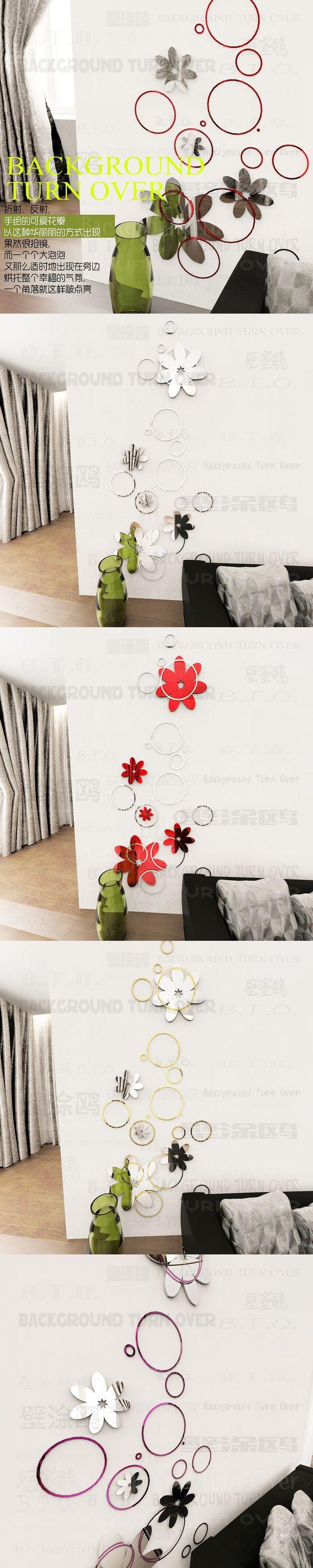 DIY creative fashion spring nature circle flower backdrops 3D mirror wall stickers home decor living room CQL-016 $24.45