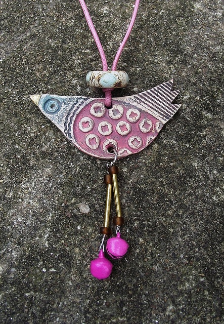 Clay Birdie Necklace by Heidi Soos