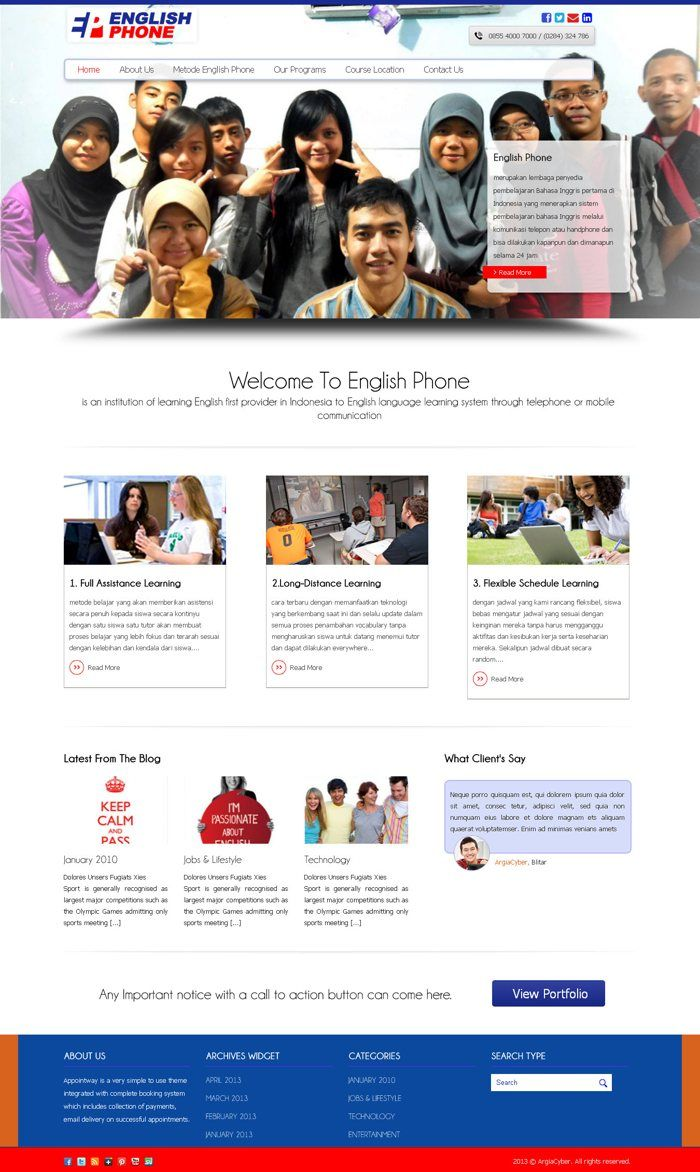 #Portofolio #Companyprofile English Phone merupakan website company profile sebuah bimbingan belajar di kota Pemalang, yang kami bangun menggunakan CMS WordPress.