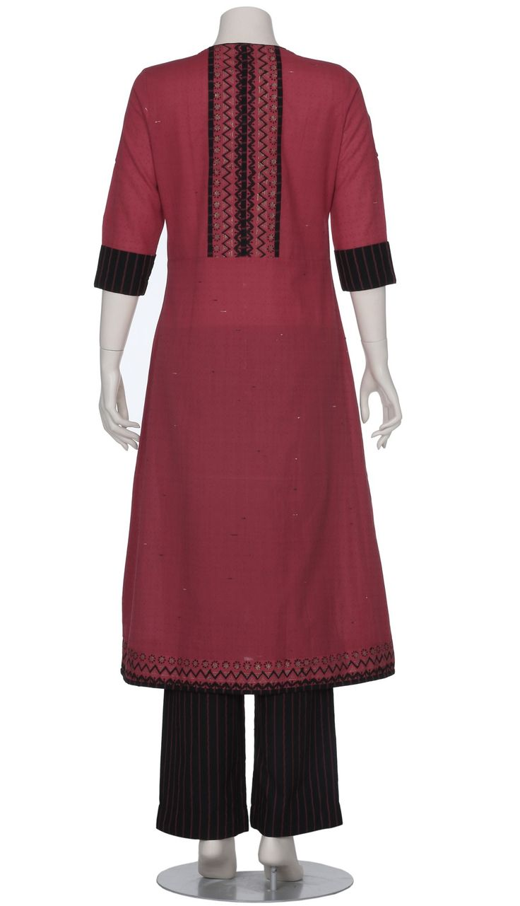 Red Printed and Embroidered Hand Loomed Cotton Shalwar Kameez Set