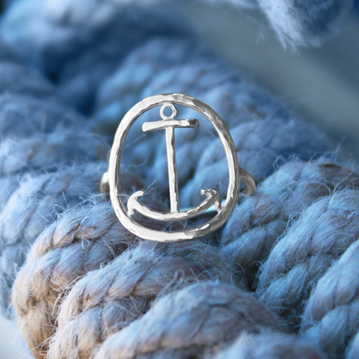 Anchor Ring with Hammered Finish