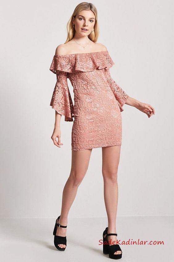 5959959199fa4 Uzun Kollu Mini Gece Elbiseleri Pudra Kısa Omzu Açık Uzun Kol Fırfırlı Yaka  Dantel #moda #fashion #fashionblogger #evening #eveningdresses  #eveninggowns ...