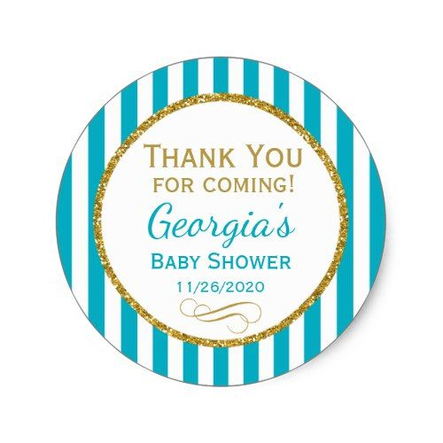 Turquoise Aqua Baby Shower Thank You Favor Tags