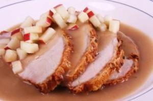 Sliced Roast Loin of Pork with Warm Apple Gravy customizable chef prepared meal service topchefmeals.com