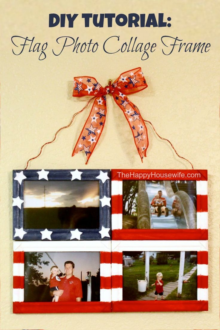 DIY Tutorial: Flag Photo Collage Frame ~ an easy craft project that is perfect for 4th of July | The Happy Housewife