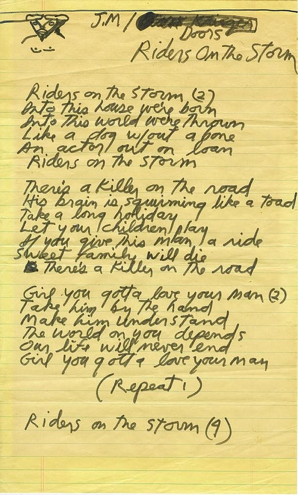 """Jim Morrison of The Doors handwritten lyrics for """"Riders on the Storm"""". His words are poetry. Pure genius. ❤️"""