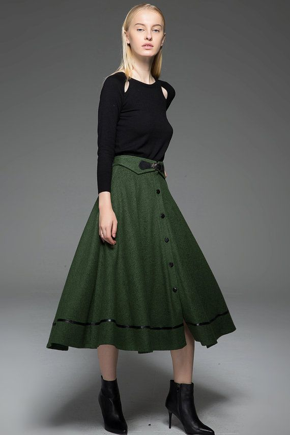 A-Line Wool Skirt - Autumn/Winter Warm Midi-Length Buttoned Olive Green Flared Handmade Skirt with Buckle Waist Detail and Leather Trim C760