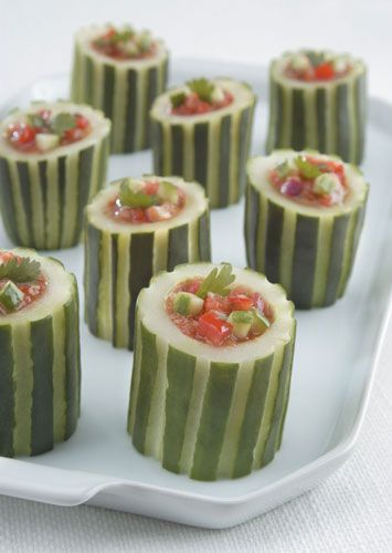 Spicy Smoked Gazpacho in Cucumber Cups