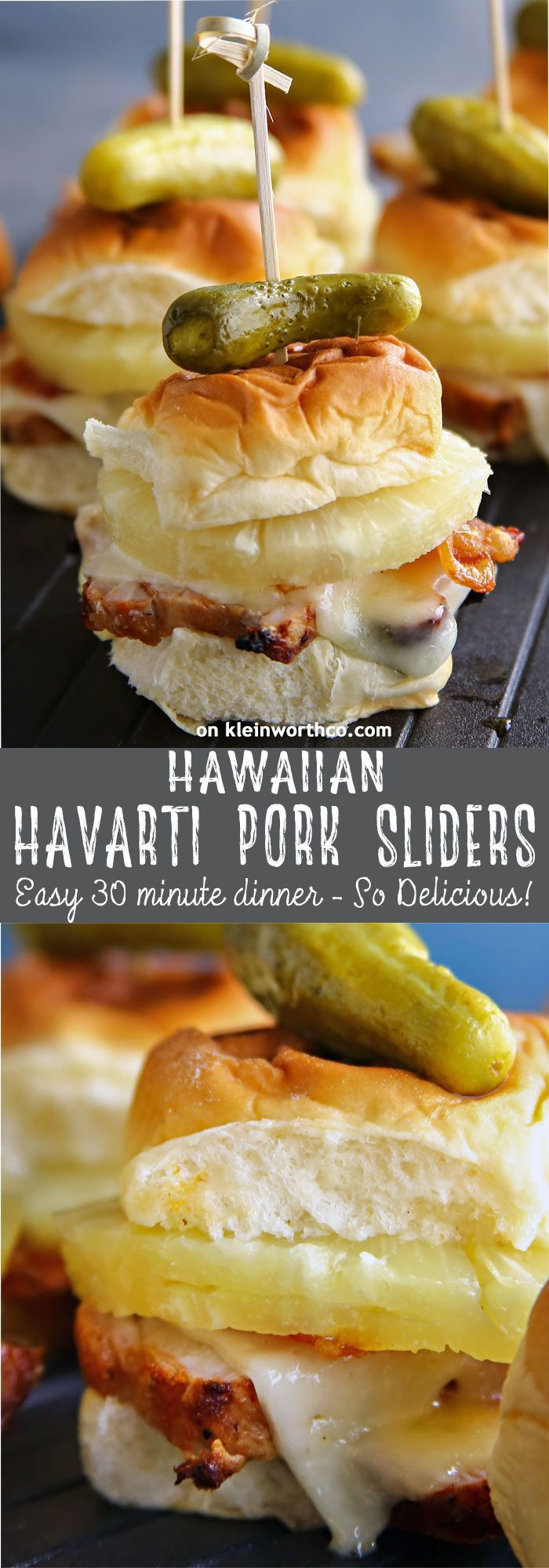 Hawaiian Havarti Pork Sliders, an easy family dinner idea that takes just 30 minutes. You can't go wrong with fun party food like this for dinner. YUM! #ad #RealFlavorRealFast @SmithfieldBrand