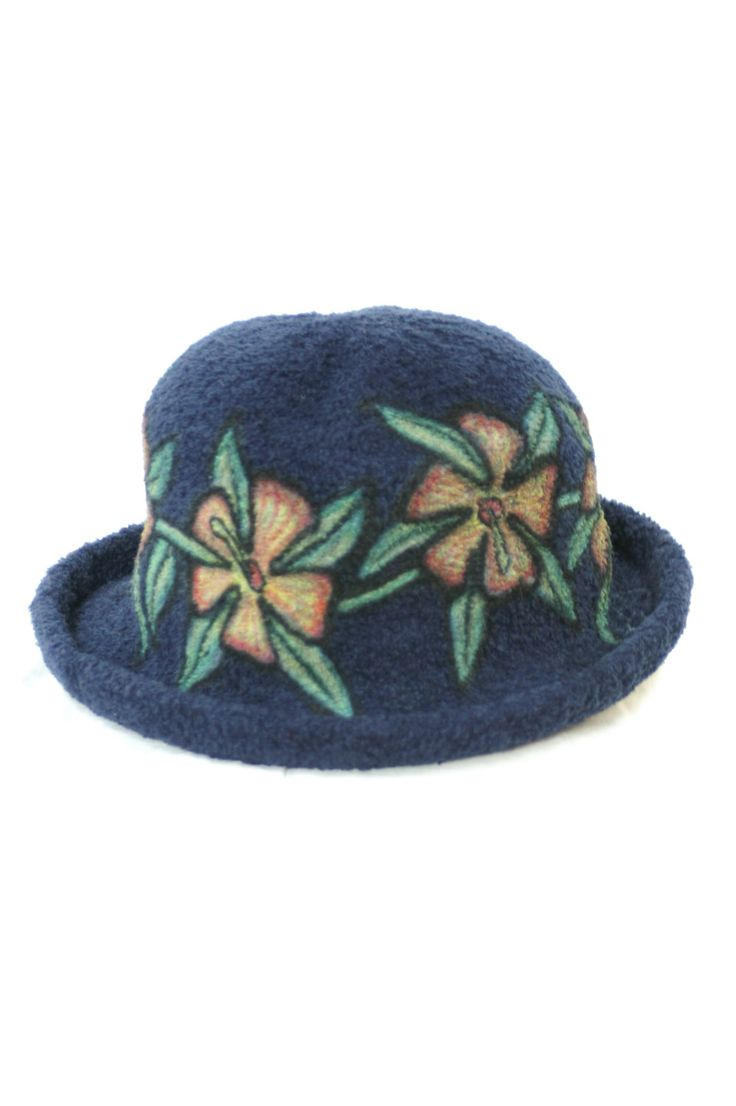 Flower Print Blue Hat