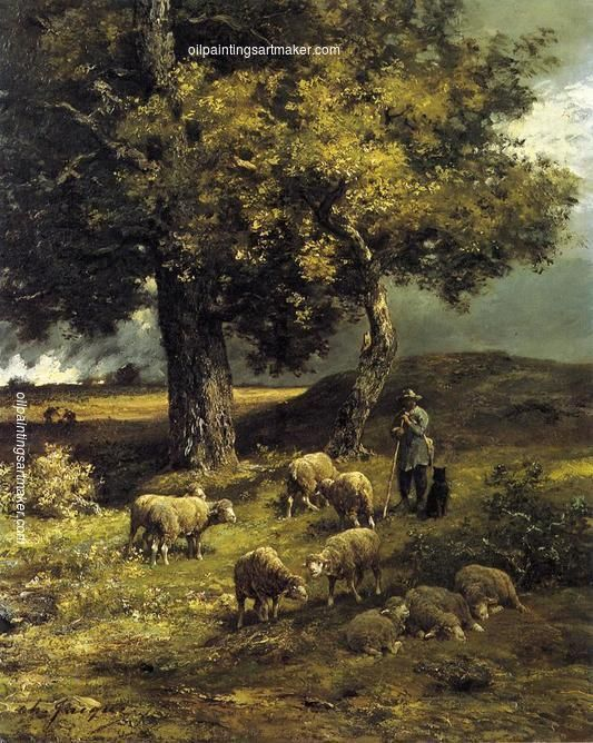 Charles-Émile Jacque Tending the Flock, painting Authorized official website