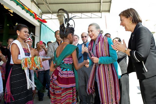 Secretary Clinton covered in tais in Timor-Leste