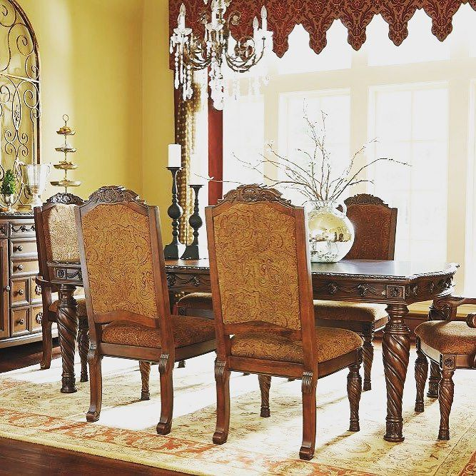 That Furniture Outlet A BBB Rating Edina MN Minnesotas Ashley North Shore 7 Piece Extension Dining Set With Upholstered