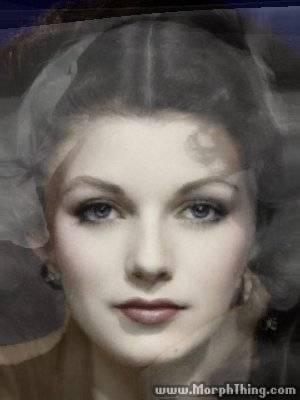 A morph of Jean Harlow, Rita Hayworth, Joan Collins, and Morgan Brittany