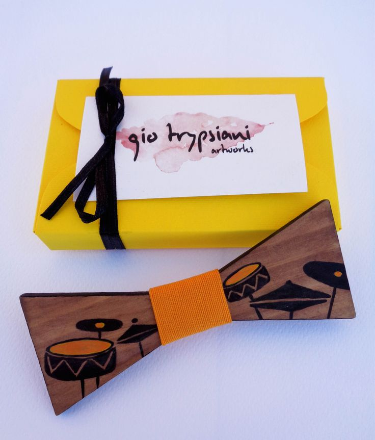 Handmade Wooden Bow Tie - Drums