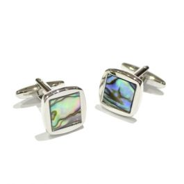 Abalone Shell Rounded Square Cufflinks - Abalone Shell cufflinks in a smart square cufflink with rounded edges.  As every shell is unique, the patterns and colouring on these cufflinks are all different.
