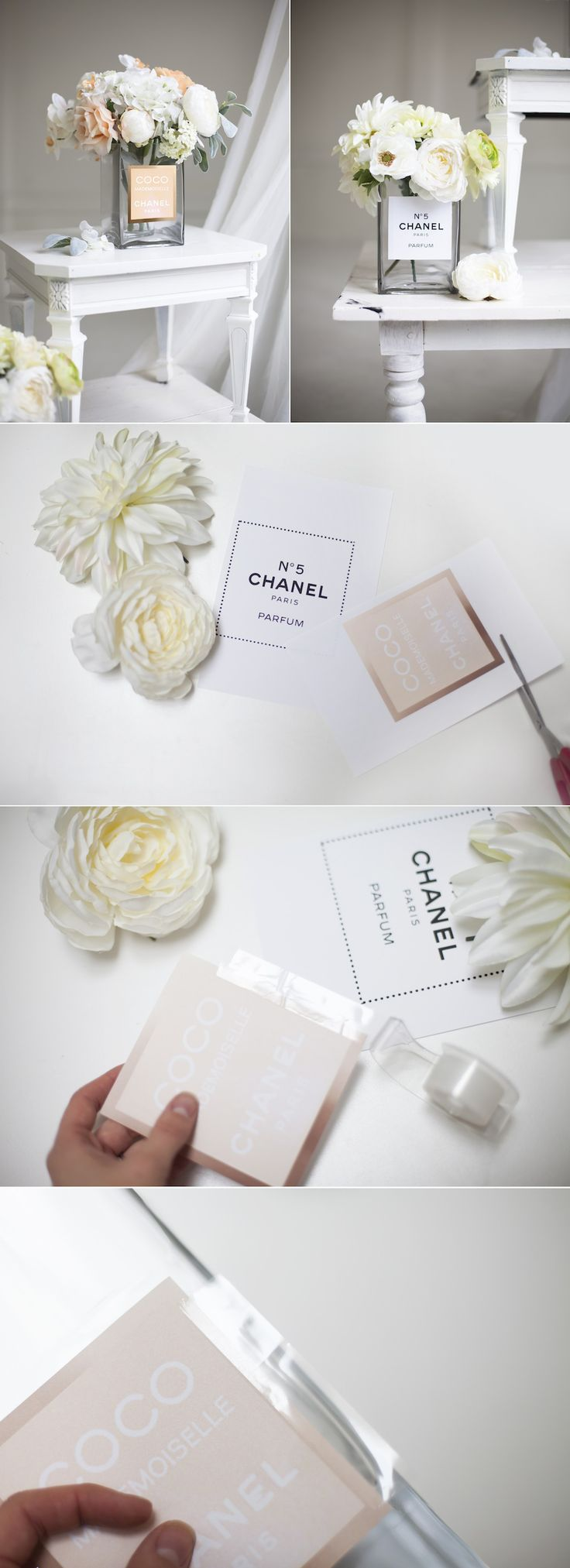 Perfume bottled Inspired Vase......place on your buffet with some Chanel cupcakes! |Pinterest: @lauranoet
