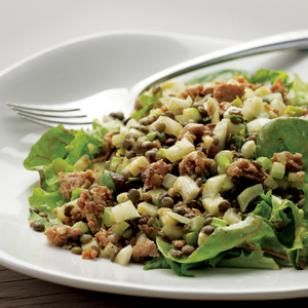 Warm Lentil Salad with Sausage & Apple.  I'd use shredded chicken or turkey instead.  Or turkey bacon!