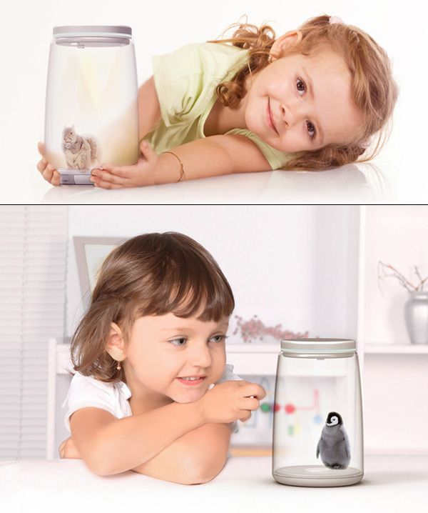 The Jar is a 3-D projector that hooks up to the computer. You can download information and the app for a 3-D projected pet that sparks into life when the Jar is turned on. Ideal for chidlen, it can turn into a hub for learning the lifecycle of a butterfly to owning a pet squirrel. Kids can enjoy vivid interactions with it, via multi-sensory technology.    Jarpet is a 2012 red dot award: design concept winner.    Designers: Zhang Di, Zhao Tianji, Ma Yinghui & Cui Minghui