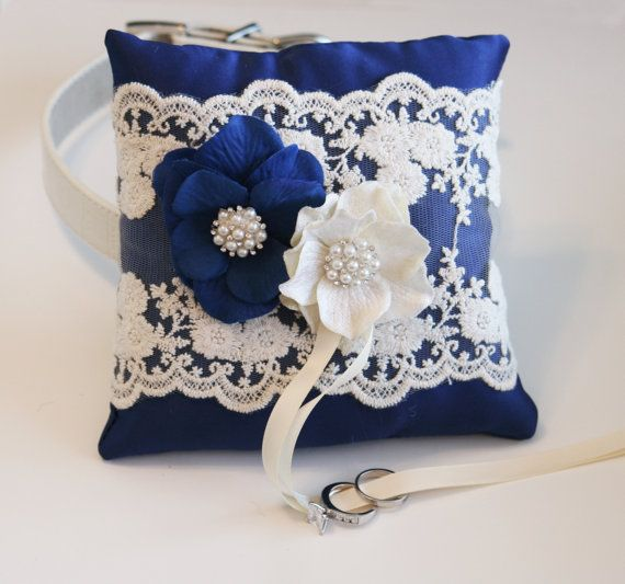 Royal Blue Ring Pillow, Dog ring bearer pillow,Victorian Ring Pillow, Ring Pillow attach to dog Collar, Pet wedding accessory, Spring on Etsy, $68.50