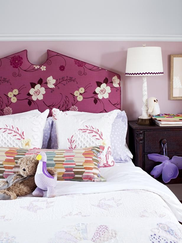 old chenille bedspread: NEW bed pillows :)  Love Sarah Richardson, love her bedrooms, this is her daughter's. This headboard is delicious!  matching curtains in room are just yummy & not sticky girly, just ageless!