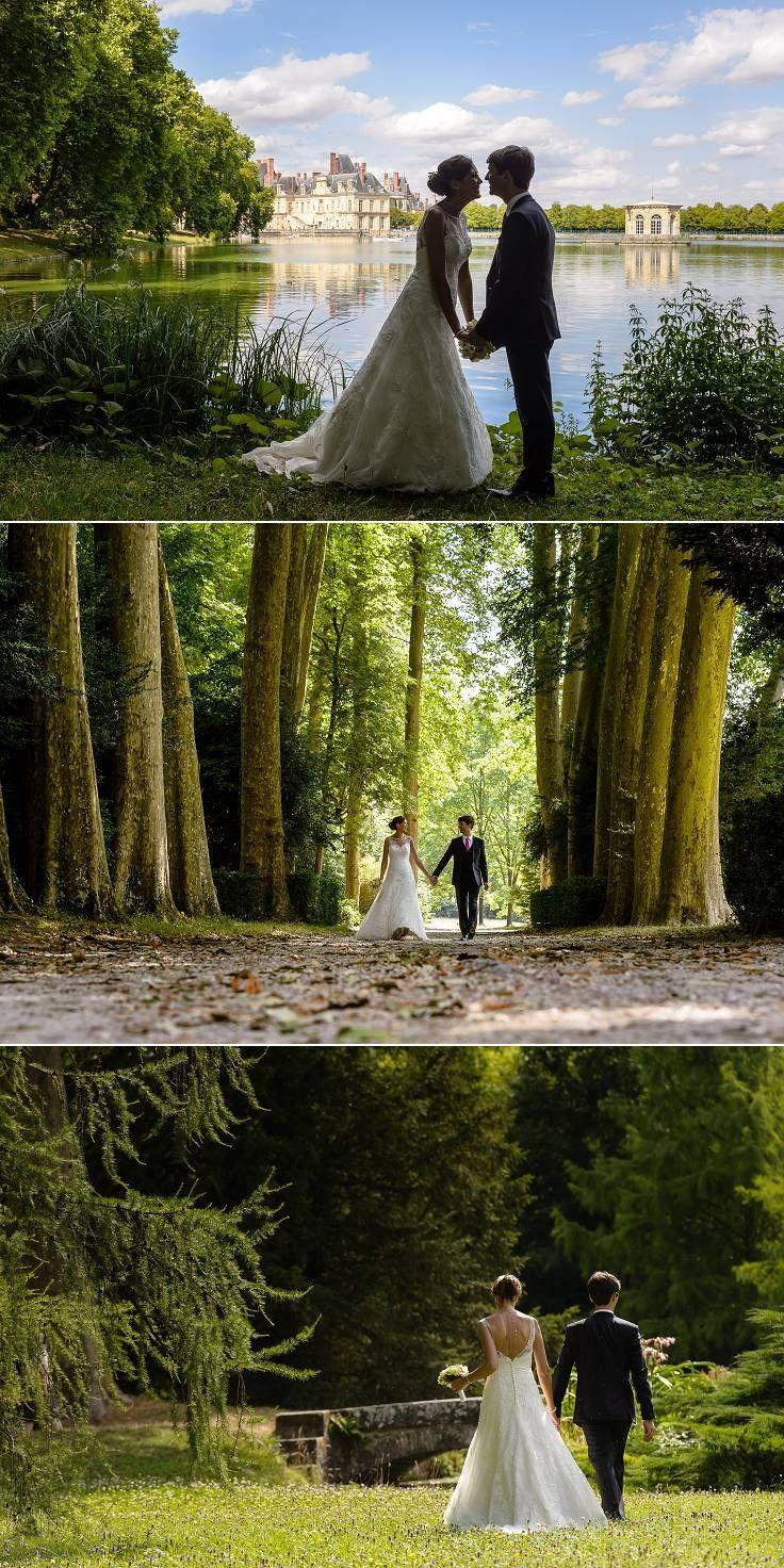 séance photo de couple dans le parc du château de fontainebleau.