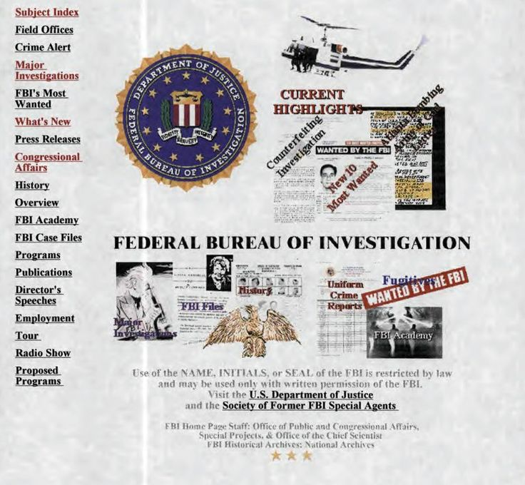 The FBI Website at 20: Two Decades of Fighting Crime and Terrorism - http://scienceblog.com/79117/fbi-website-20-decades-fighting-crime-terrorism/