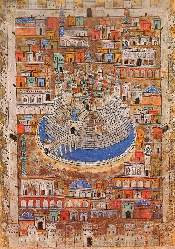Ottoman Map. This sixteenth-century miniature painting by Nasuh Al-Matrakî depicts the city of Aleppo in Syria.