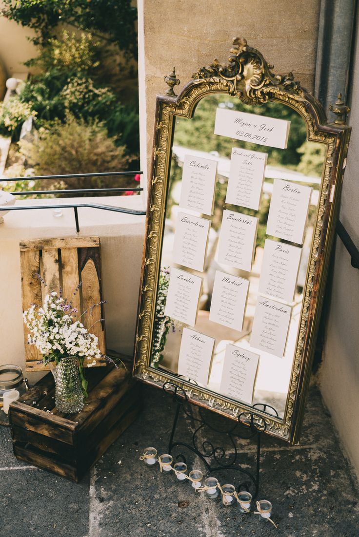 Gold Guilt Mirror Table Plan | Luxury Destination Wedding | Neutral Colour Palette | Chateau Les Carrasses South of France | Modern Vintage Weddings | http://www.rockmywedding.co.uk/megan-joshua/