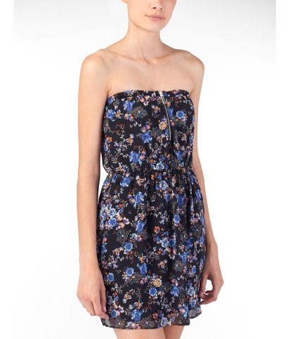 Sukienka bez ramiączek z kwiatowym wzorem - Stradivarius