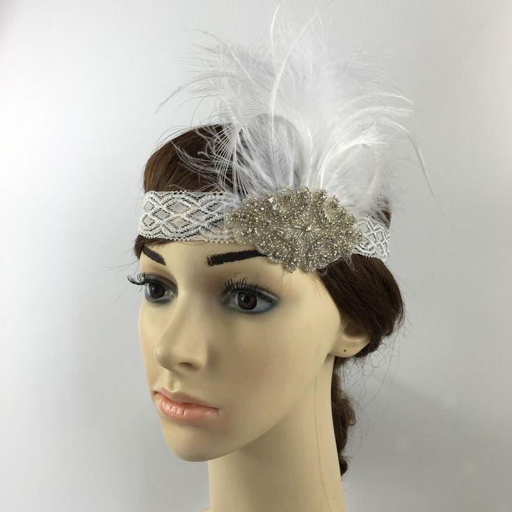 Crystal Feather Headband Flapper Headpiece 1920s Great Gatsby Fancy Dress    eBay