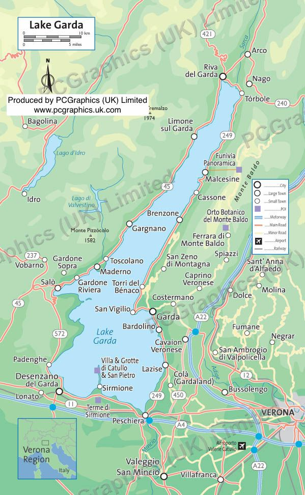 Lake Garda, Italy, produced by PCGraphics (UK) Limited. Find out more about our maps on our website (http://www.pcgraphics.uk.com) or on our other Pinterest Boards. Try our blog http://www.pcgraphics.uk.com/blog/