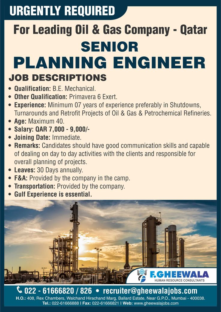 Urgently Required PLANNING ENGINEER for Leading Oil & Gas