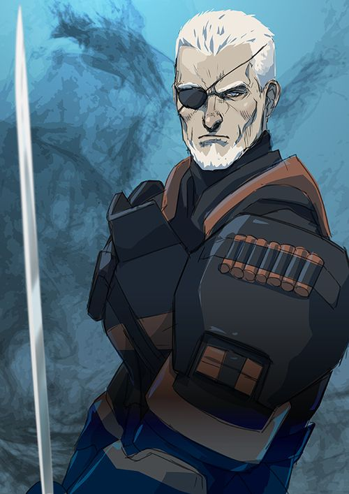 Slade Wilson / Deathstroke. Slade lost his eye when his wife, enraged because he endangered their son's life, shot him. She failed to kill him but destroyed his right eye.