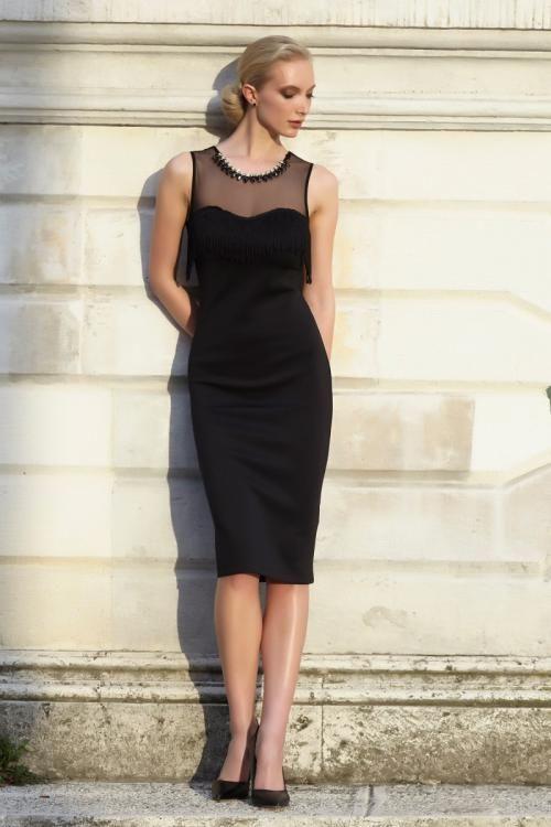 Siyah Taş ve Püskül Detaylı Elbise - Fotoğraf