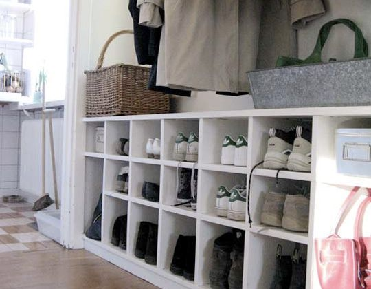12 Pair Shoe Organizer from the Container Store. Combine two or three in a row for additional storage.
